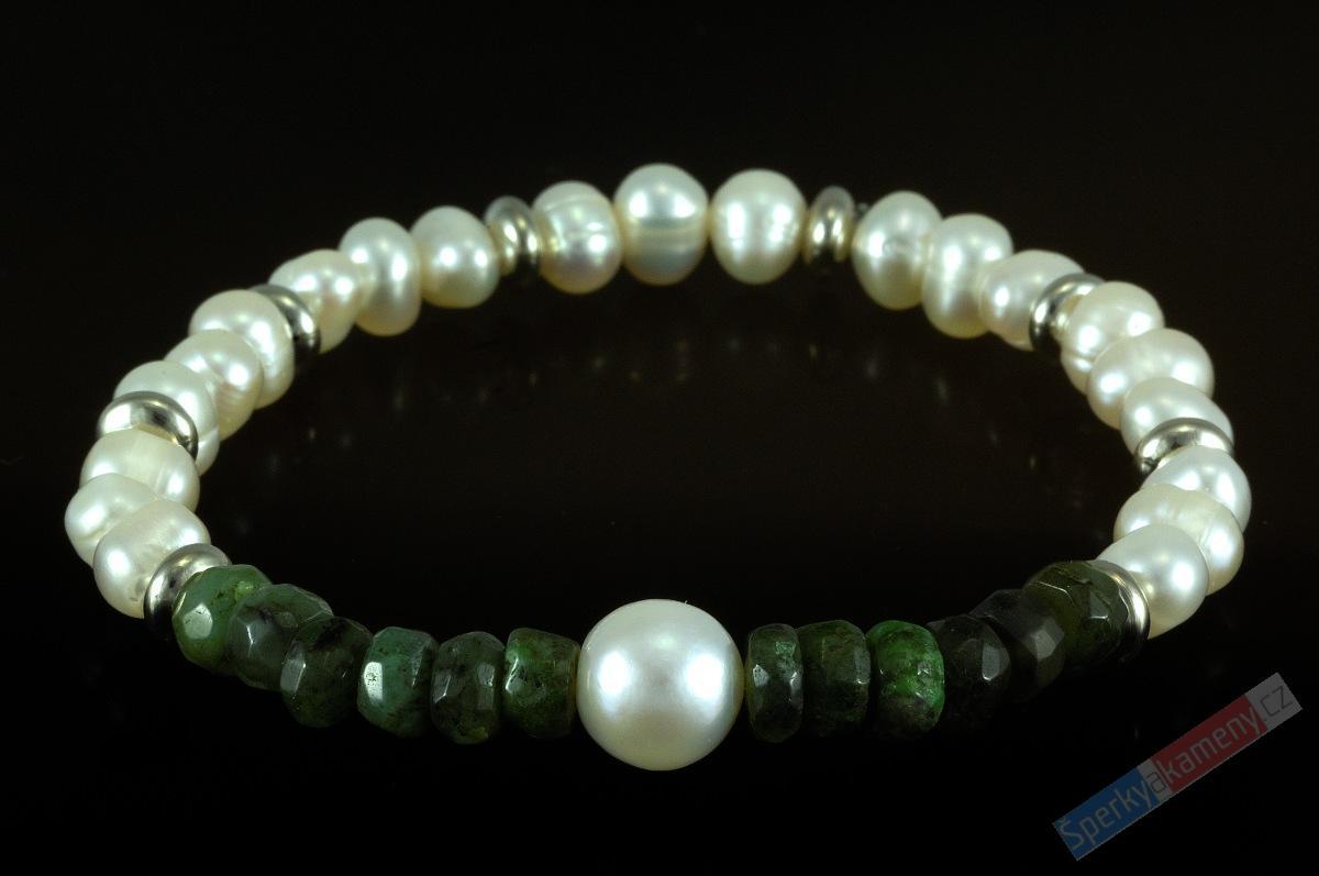 d6d63a1a7ef Náramek z brouš.přírodního smaragdu a perel